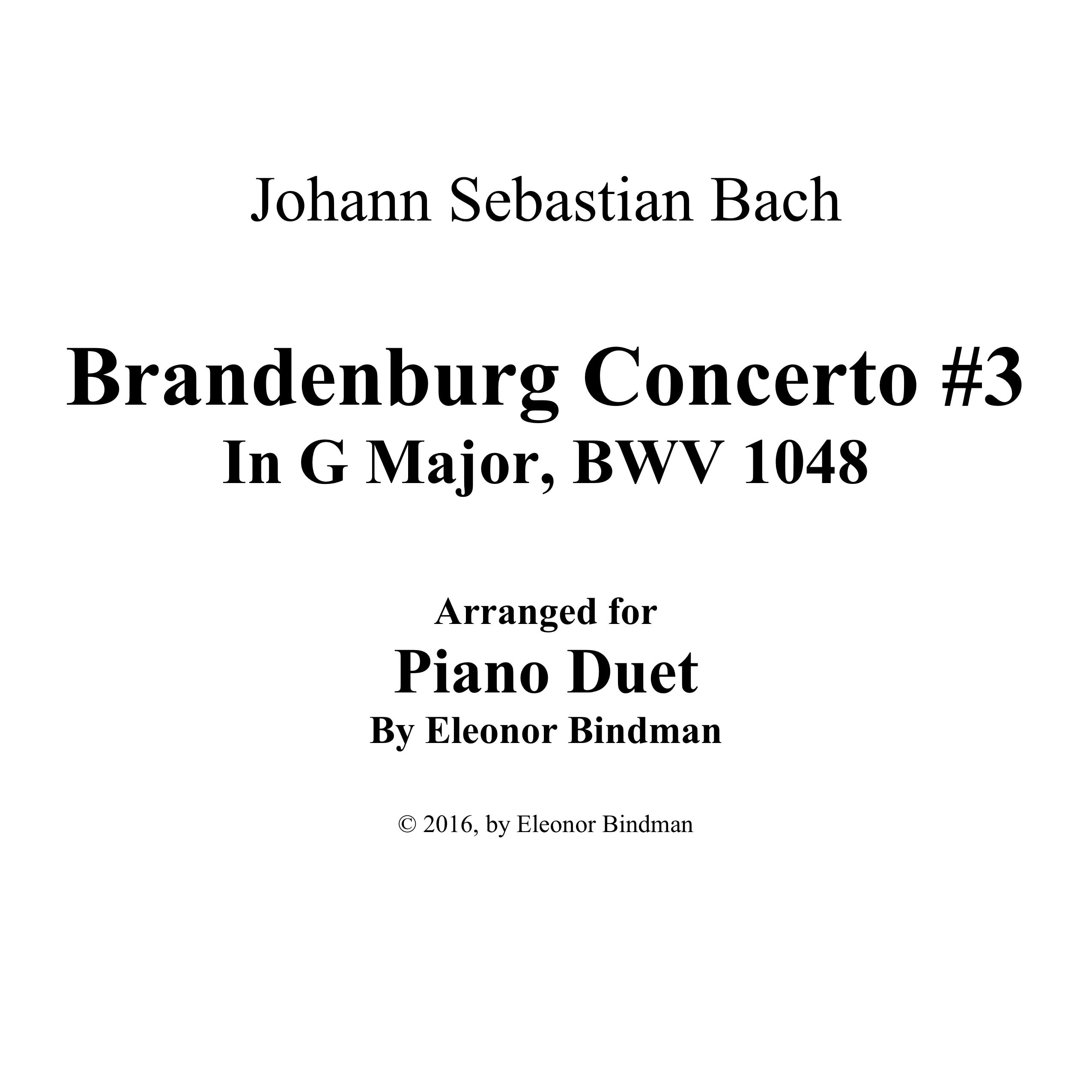J.S. Bach: Brandenburg Concerto No. 3 in G Major, BWV 1048 for Piano Duet - Score