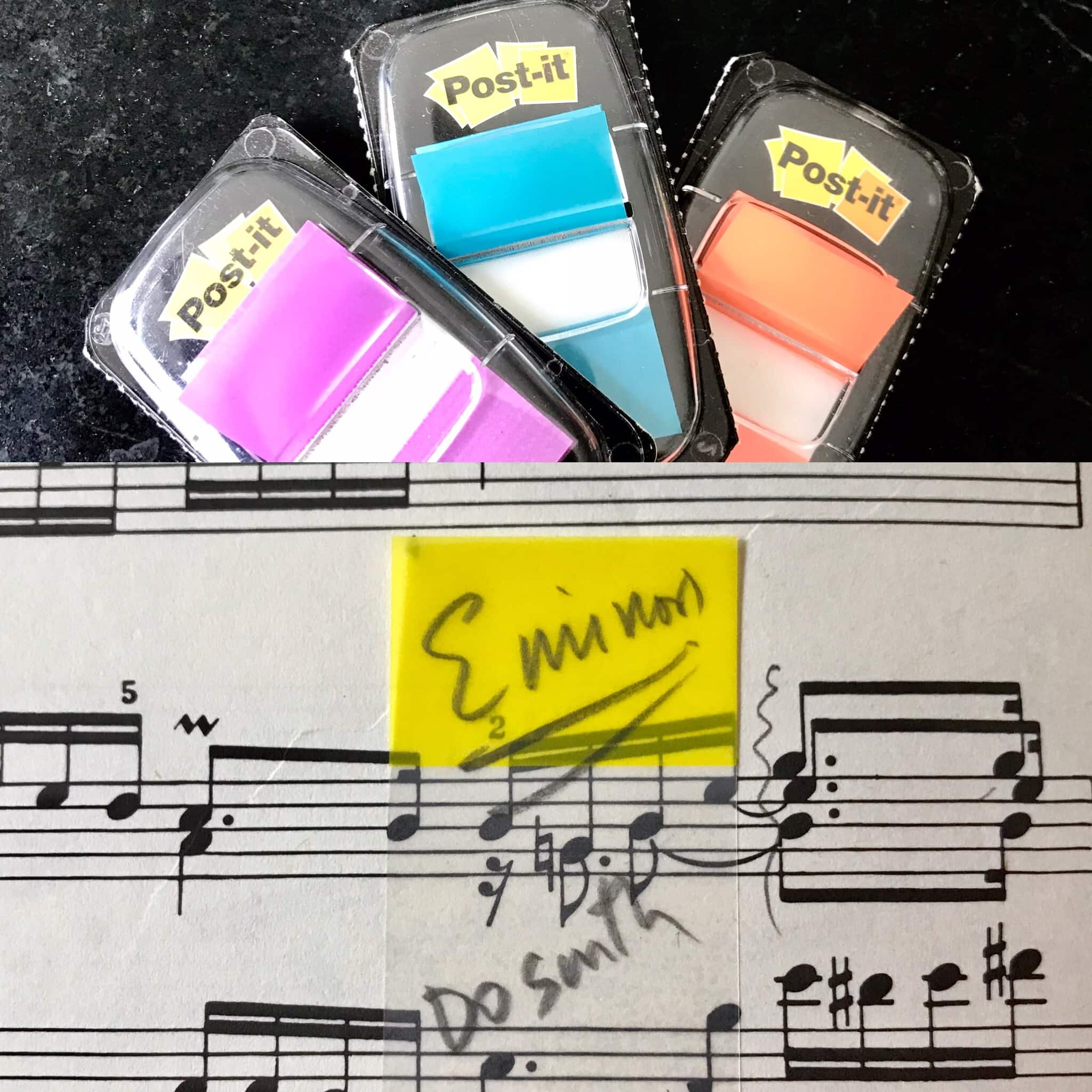 Score image with post-it notes